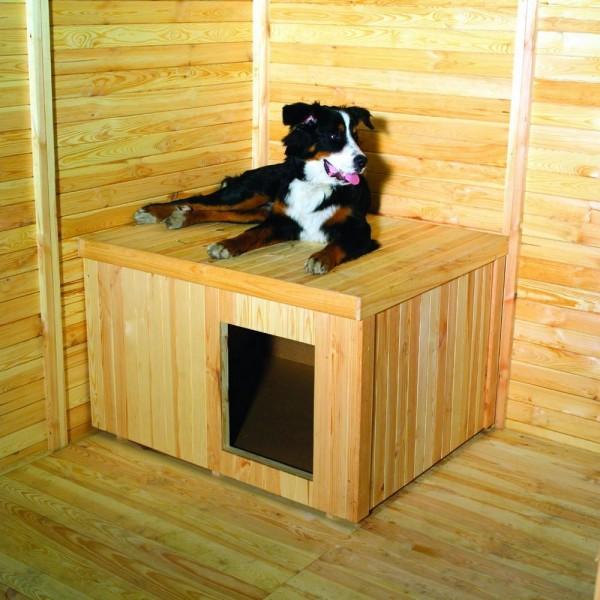 "Hundehütte ""Canin"" für Hundezwinger 108x89x69cm Kiefernholz massiv naturfarben Hütte Hund Garten"