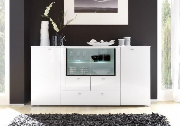 """Sideboard mit Glaseinsatz u. Schubladen """"Dingo""""-in Hochglanz weiß in 200x102x45 cm"""