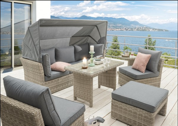 """Dining-Loungeset """"Martinique II"""", 5er-Set, mit Polster, beige/grau, Loungemöbel, Garten, Balkon"""