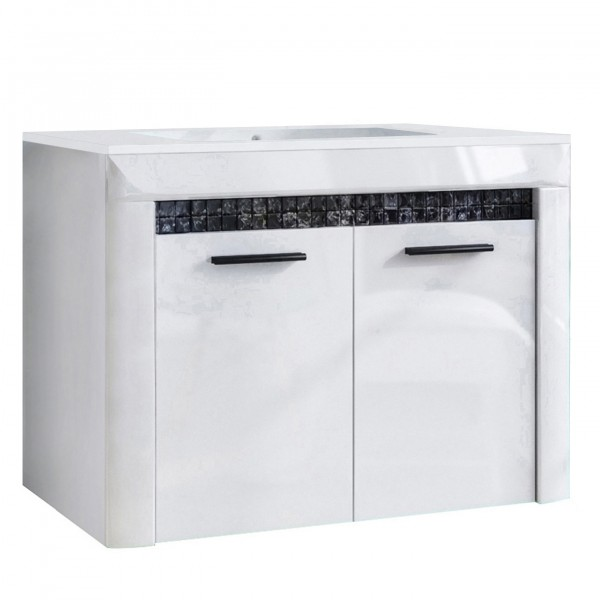 """Forest Dream A9MS00V1S01 Waschbeckenunterschrank Mit Waschbecken Mosaic V1S Waschbeckenunterschrank mit Waschbecken """"Diamond"""" 79,8x58x46cm (B/H/T)"""