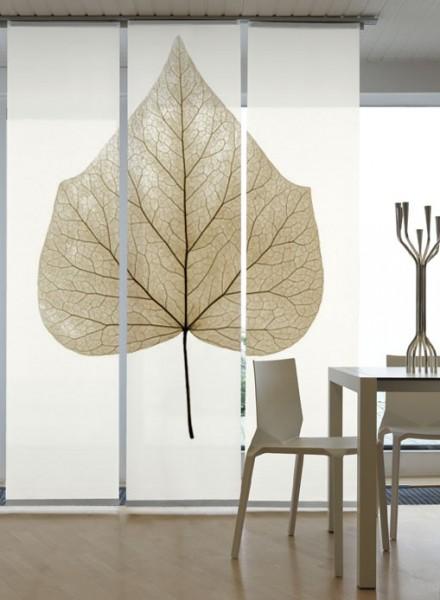 fl chenvorhang schiebevorhang 3er set lindenblatt in 3 farben inkl montagesatz. Black Bedroom Furniture Sets. Home Design Ideas