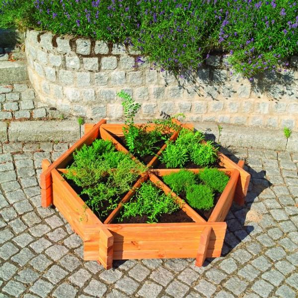 """Kräuterrad """"Hanne"""", Kiefer, honigbraun, 122 x 27cm, mit Pflanzfolie, Kräuterbeet, Blumenbeet, Garten"""