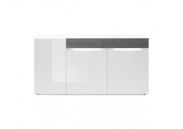 Sideboard, Kommode, Wohnzimmer, Ria Blanco Grande, Weiß, Hochglanz, Stonegrey