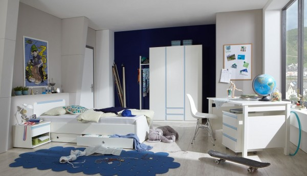 """Jugendzimmer """"Donkey One Ice"""" Komplettprogramm Alpinweiß, iceblau mit Bett, Kleiderschrank, Schreibtisch u. Nachttisch"""