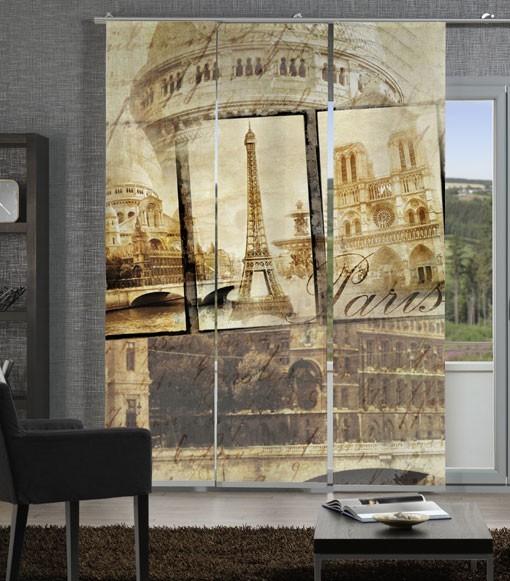Flächenvorhang Schiebevorhang 3er Set Alt Paris Sepia inkl. Montagesatz