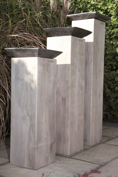 """Designer Dekosäulen """"Viktoria III"""", Holz, 3er-Set, Kerzenständer, Dekoständer, Garten"""