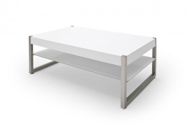 """Couchtisch """"Modesto I"""" - Tisch Couchtisch MDF Lack Glas weiss Metall Edelstahl 105x38x65 30kg"""