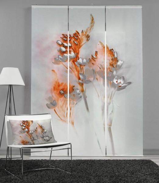 Set Schiebevorhang Floralzauber Orange + Kissenhülle Floralzauber Orange