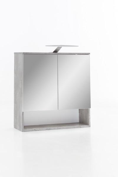 "Spiegelschrank ""Pascal"", Beton/weiß, 1 offenes Fach, 2 Türen, 65 x 79 x 24 cm"
