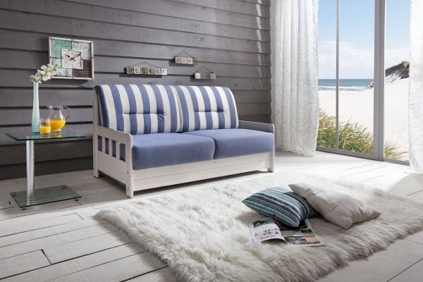 """Sitzbank """"Vague"""" Weiß Blau 154 x 88 x 90 cm (B/H/T) 2-Sitzer mit Liegefunktion Schlafsofa"""