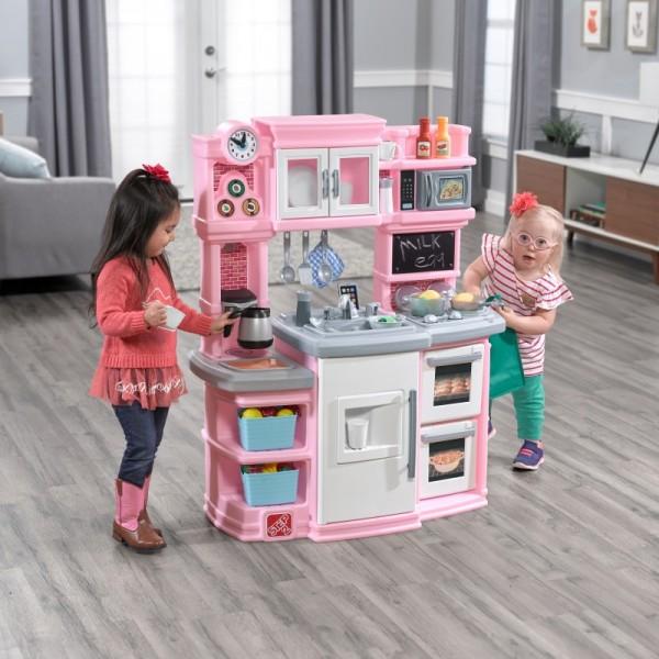 "Spieleküche ""Sian"" aus Kunststoff 43x99x117cm rosa,weiß,grau Kinderküche"