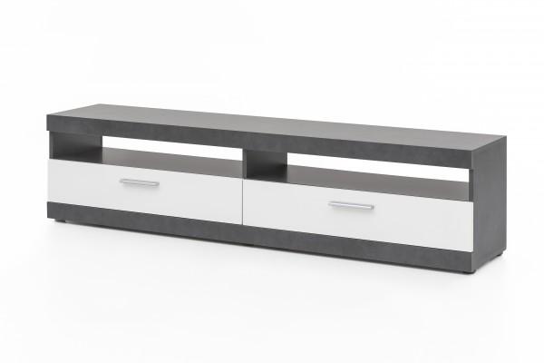 """Lowboard und Paneel """"Amandus"""", graphit/weiß, 2er-Set, TV-Unterschrank, Wandpaneel, Wohnzimmer"""