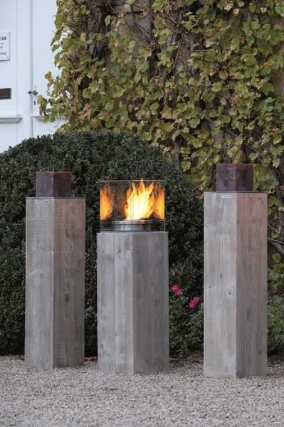 "Designer Dekosäulen ""Viktoria II"", Holz, 24x24x117 cm, 2er-Set, Kerzenständer, Dekoständer, Garten"