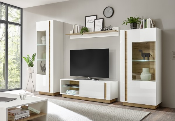"Wohnwandd ""Fresh"" weiß Hochglanz Grandson Oak Dekor 290(270)x194x40cm Fernsehwand"