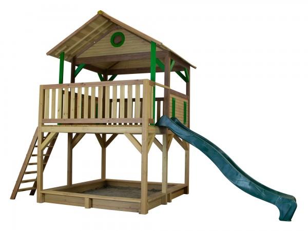"""Holzspielhaus """"Tadeo"""" mit Veranda + Leiter + Rutsche + Sandkasten 212x432x293cm aus Holz in braun"""