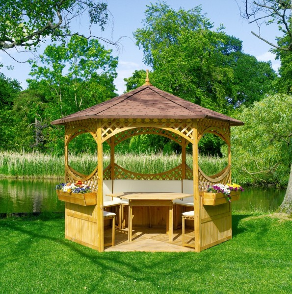 "Pavillon ""Marion I"", Holz/Bitumenschindeln, 278x278cm, Möbel, Gartenpavillon, Pavillonset, Garten"