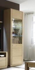 """Vitrine-R """"Anriel I"""" Schrank m. Glaselement, Eiche Bianco, 69x209x38cm, Stauraumschrank, Highboard"""
