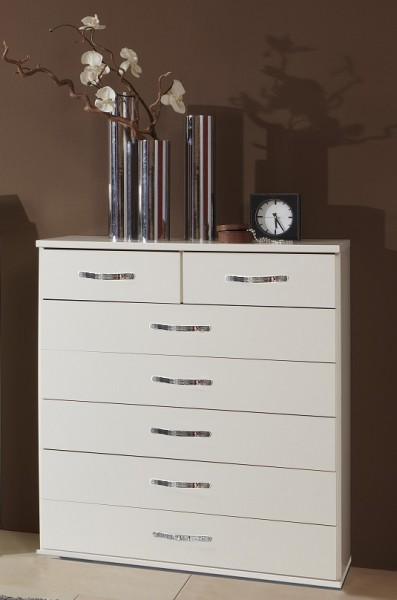 "Beauty.Scouts Highboard ""Baseline"", in Alpinweiss + Chrom Absätze"