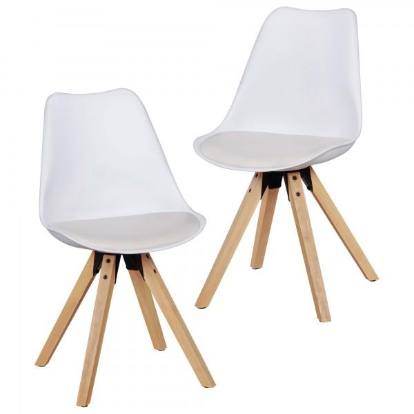 """2er Set Stuhl """"Sola II"""" Holzstuhl Rubberwood 48x89x42cm Küchenstuhl"""