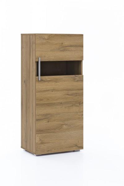 """Vitrine """"Solita"""", 50 x 114,5 x 32,5 cm, Alteiche, Tür rechts, Vitrinenschrank, Wohnzimmer, Schrank"""