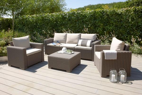 """Lounge Gruppe """"Gelia"""" 4-tlg. Kunststoff in cappuccino/sand Tisch 3-Sitzer 2xSessel Gartengruppe"""