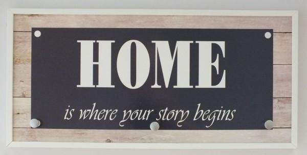 "Garderobe ""Home-Story"", Hakenleiste, Garderobenleiste, Kleiderhaken, creme, 25x50x5cm"