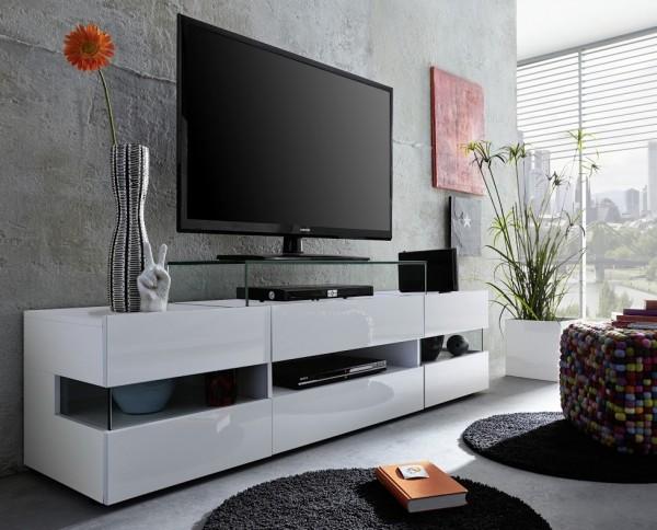 """Lowboard """"Tatjana"""", weiß Melamin, weiß Hochglanz, TV-Unterschrank, 169 x 43 x 43,5 cm"""