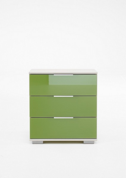 """Nachtschrank """"Lela 2"""" Nachtkonsole weiß+Glas grün (3 Schubkästen) 52x58x38cm Schrank"""