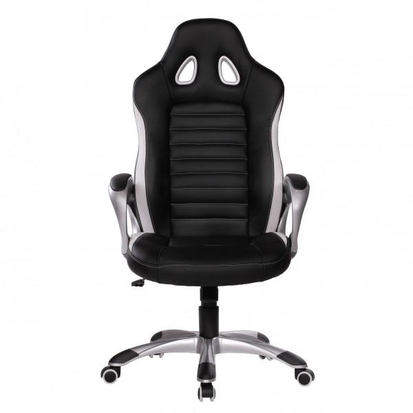 """Bürostuhl """"Sam"""", schwarz/weiß, Kunstleder, Schreibtischstuhl, Gamingstuhl, Drehstuhl, Sessel"""