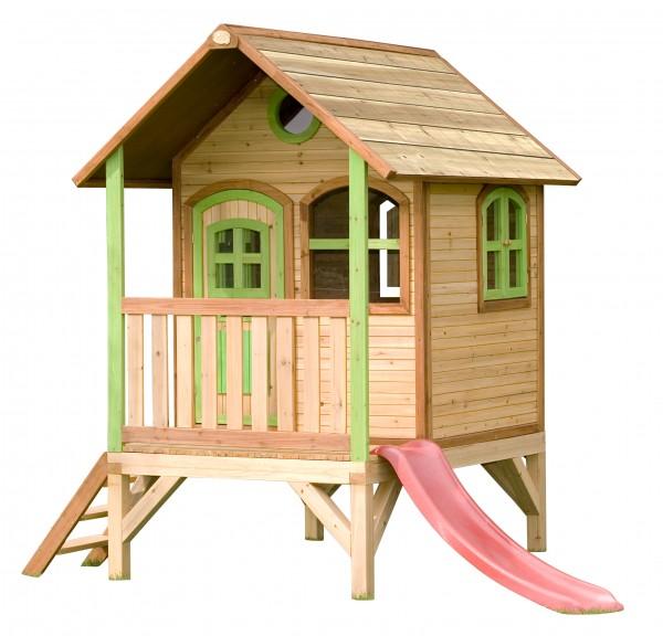 """Holzspielhaus """"Vanadis"""" mit Veranda + Leiter + Rutsche 172x287x231cm aus Zedernholz in braun"""