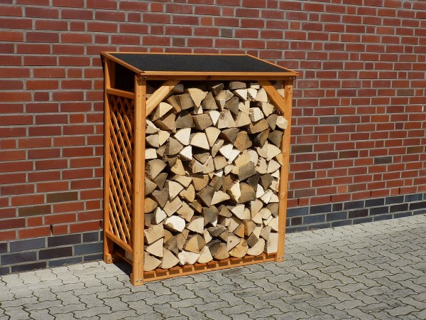 "Kaminholzregal ""Renate"", Kiefer, honigbraun, 119,5 x 68 x 148cm, Holzaufbewahrungsregal, Garten"