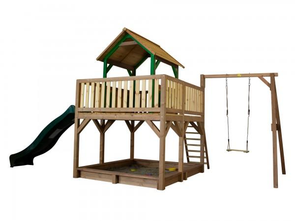 """Holzspielhaus """"Tafil"""" mit Veranda + Leiter + Rutsche + Sandkasten + 1x Schaukel 277x540x291cm Holz"""