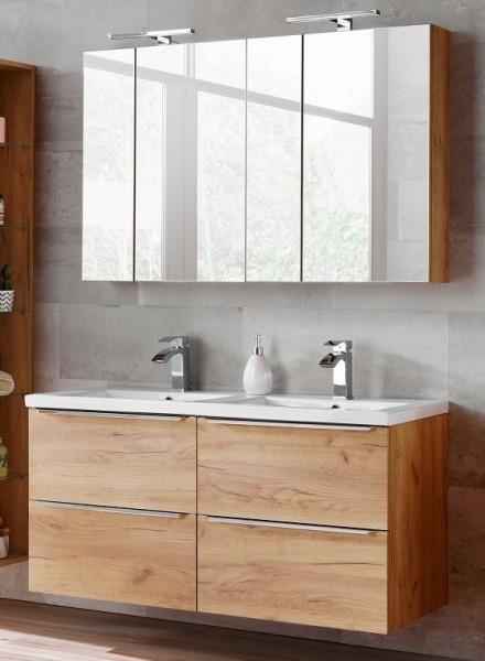 """Badmöbelset """"Melbourne X"""" Gold Craft Oak 5-teilig, Badezimmerset, Badezimmer inkl. Beleuchtung"""