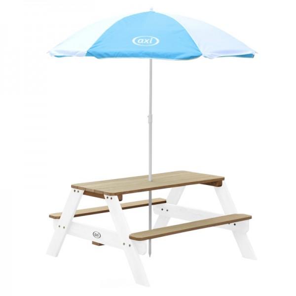 """Kinder Picknick Set """"Jorden I"""" Hemlock Holz in braun-weiß 95x98x49cm Picknicktisch mit Sonnenschirm"""