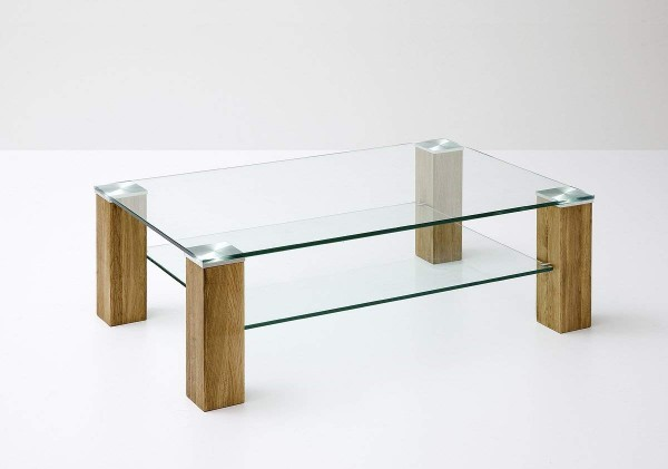 """Couchtisch """"Jasny II"""" - Glastisch Klarglas m. Ablagefach Massivholz Asteiche 110x40x90 cm Tisch"""
