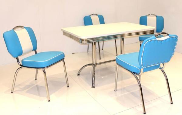 """Tischgruppe Set """"Key West II"""" Diner Set blau/weiss Doppelsäulentisch 4xStuhl Küchenset Essgruppe"""