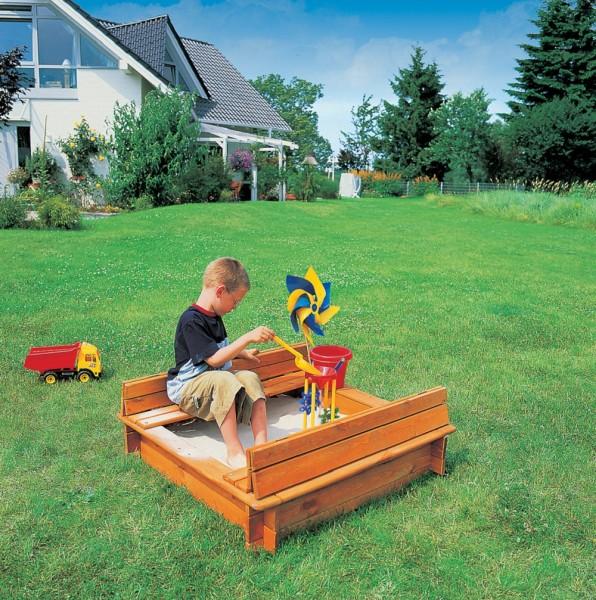 """Sandkasten """"Katha I"""", Kiefer, honigbraun, 100x100x24cm, Abdeckung, Kindersandkasten, Kinder, Garten"""