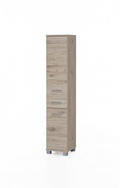 """Badezimmerschrank """"Judy 4"""", 30 x 160 x 32 cm, Eiche Sand, 2 Türen, 1 Schublade"""