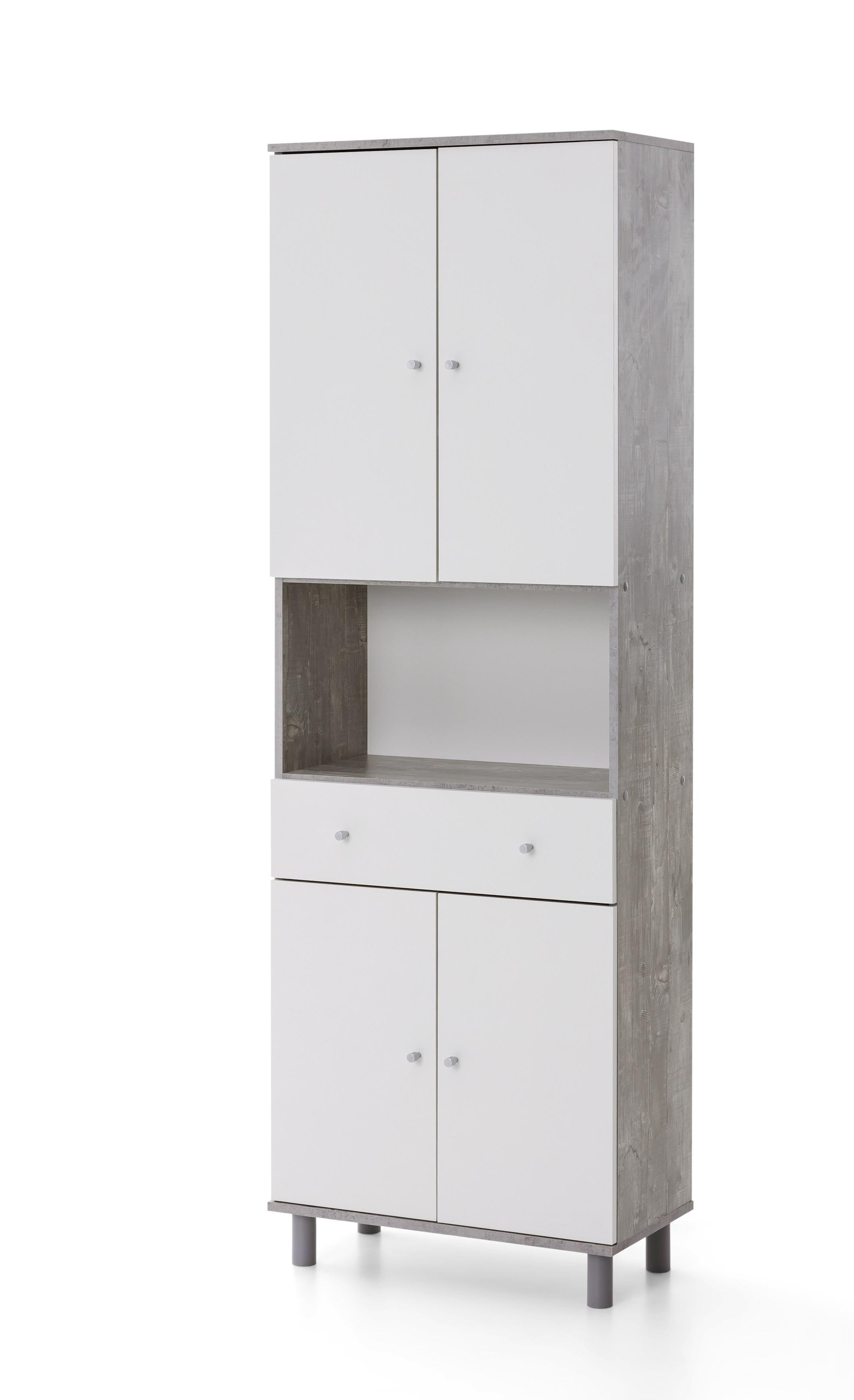 """Hochschrank """"Maja"""", beton/weiß, 17 x 17 x 17 cm, Wohnzimmerhochschrank,  Schrank, Wohnzimmer"""