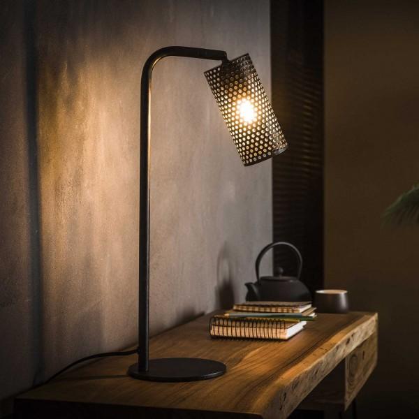 """Tischlampe """"Lucca"""" schwarz perforiert 15x30x53cm (B/T/H) Industrial Style modern Zijlstra"""