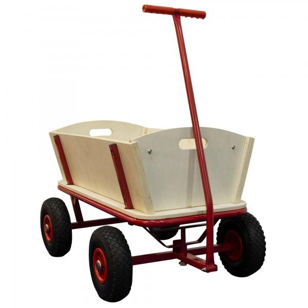 """Bollerwagen """"Josha"""" mit Luftreifen in rot aus Holz 94,5x61x97cm"""