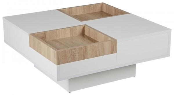 """Wohnzimmertisch """"Clue"""" Sonoma Eiche Holznachbildung weiß 80x80x35cm Couchtisch"""