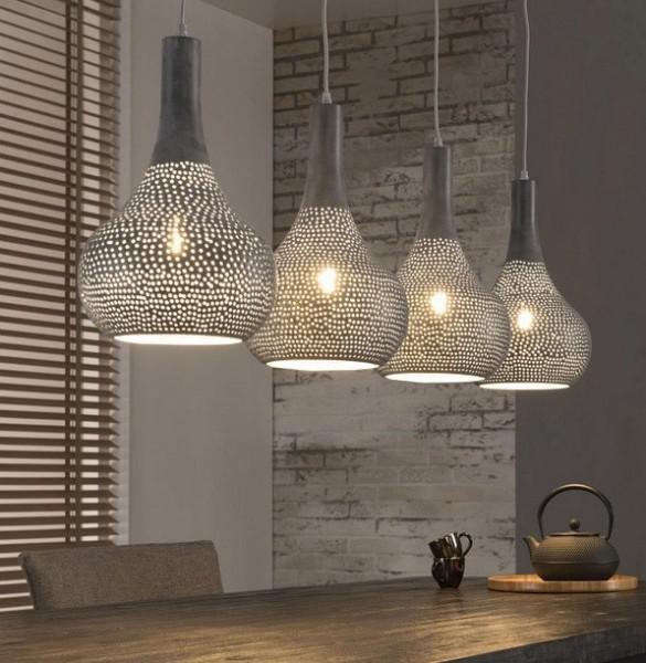 """Hängelampe """"Vlissingen IV"""" 4 Lampenschirme grau Metall 130x25x150cm (B/T/H) Deckenbeleuchtung-Cop"""