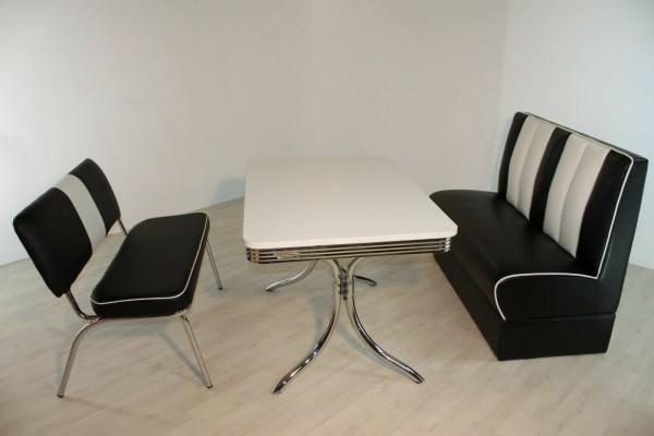 """Tischgruppe Set """"Midgar II"""" Diner Set schwarz/weiss Vierfuss-Bistrotisch Sitzbank Polsterbank Essgruppe"""