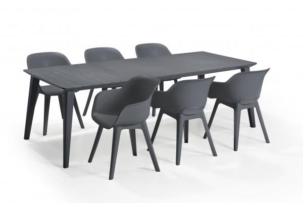 """Garten-Essgruppe """"Inti"""" 7-tlg. Kunststoff in versch. Farben Tisch 6x Sessel Sitzgruppe Dining Gruppe"""