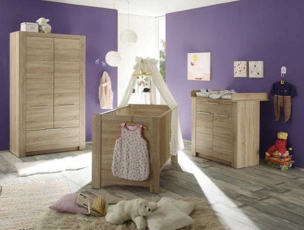 "Babyzimmerkombination I ""Bambini"", Babyzimmer Eiche 3-teilig Bett Schrank Wickelkommode Wickelplatte"
