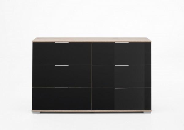"Schubkastenkommode ""Olha 3"" Eiche sägerau NB+Glas grau (6xSchubkästen) 130x83x41cm Board"