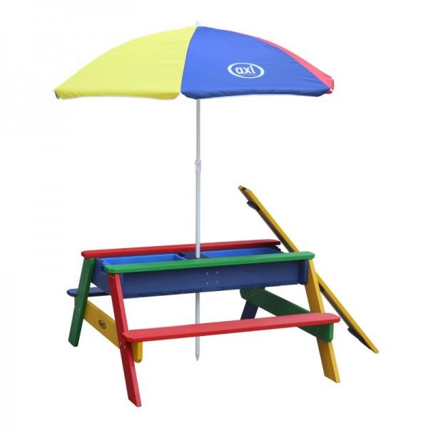 """Picknick-Set """"Josie III"""" Hemlock Holz in regenbogenfarbig 95x98x49cm Picknicktisch mit Sonnenschirm"""