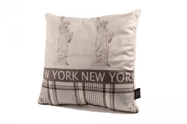 """Beauty Scouts Kissen Zierkissen """"New York"""" Lammfell-Optik 40x40cm"""