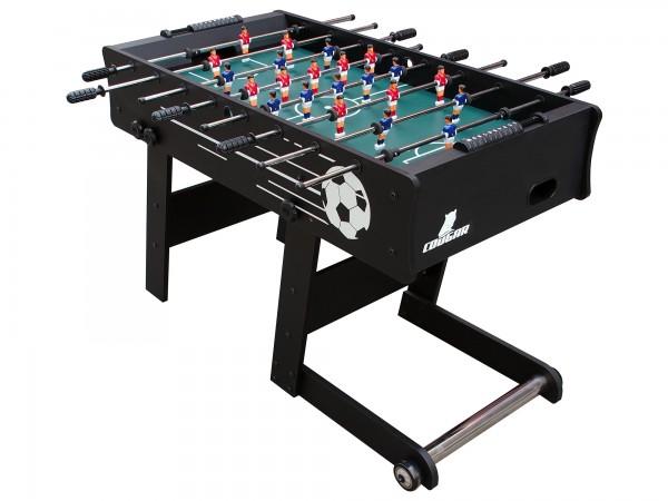 """Fußballtisch """"Sane"""" aus Holz in schwarz 121x61x81cm Tischfussball Kicker"""